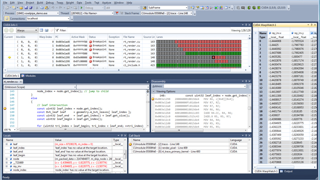 Schermata del debugger di Nsight Visual Studio Edition